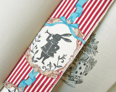 White Rabbit as Herald - Bookmark - Dragon in Knots - Fabric Bookmarks