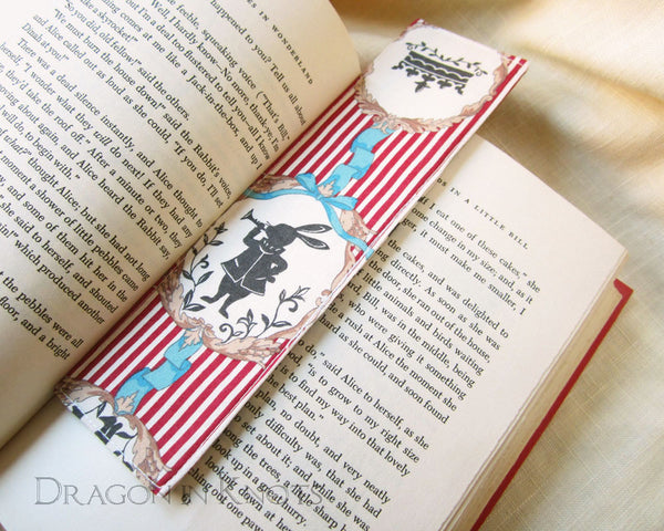 White Rabbit as Herald - Bookmark - Dragon in Knots handmade accessory