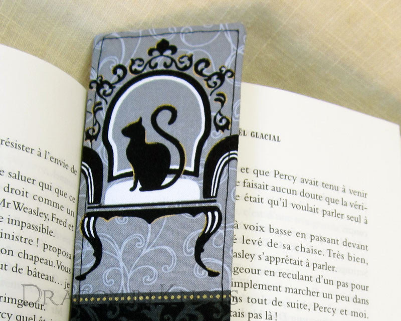 Spooky Cat Bookmark -  - Fabric Bookmark - Dragon in  Knots - 1