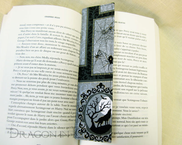 Spooky Cat Bookmark -  - Fabric Bookmark - Dragon in  Knots - 3