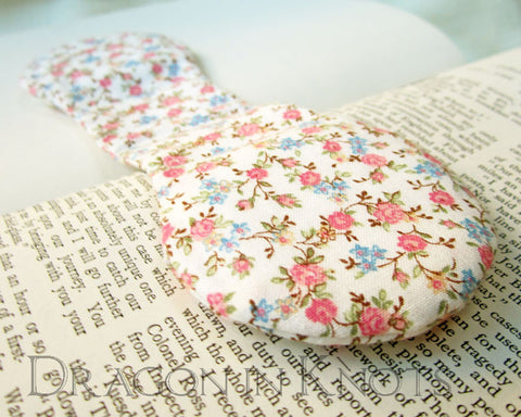 Floral Ivory Page Holder - Vintage Fabric Book Weight -  - Book Weights - Dragon in  Knots - 1