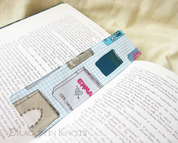 Classics Fabric Bookmark - Emma, Frederick Douglass, Moby Dick, Frankenstein - Dragon in Knots - Fabric Bookmarks