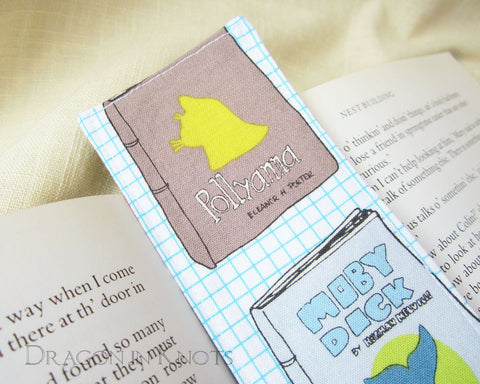Classics Fabric Bookmark - Pollyanna, Moby Dick, Walden, Anne of Green Gables - Dragon in Knots - Fabric Bookmarks