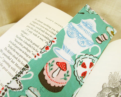 Mad Hatter's Tea Party Bookmark - Dragon in Knots - Fabric Bookmarks
