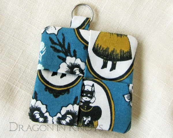 Masked Girl Earbud Pouch - Dragon in Knots handmade accessory