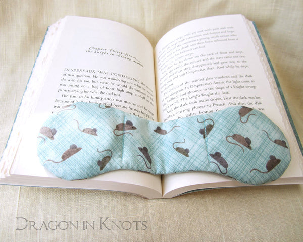 Book Weight - Light Blue with Small Mice