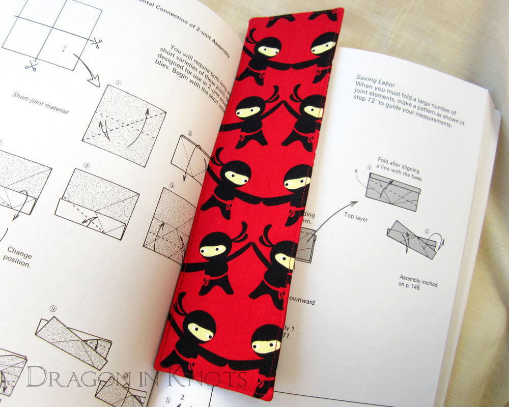 Ninjas and Shuriken Bookmark - Dragon in Knots - Fabric Bookmark