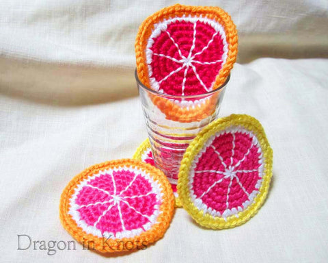 Orange and Grapefruit Coasters - Set of 4 - Dragon in Knots - Coasters