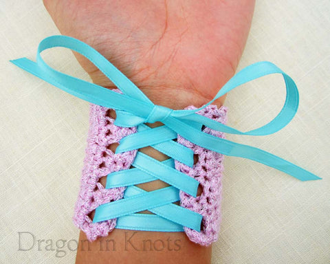 Lavender Rose Wrist Cuff with Aqua Ribbon - Small - Dragon in Knots - Wrist Cuffs