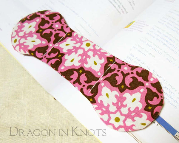 Pink and Brown Book Weight - Dragon in Knots handmade accessory