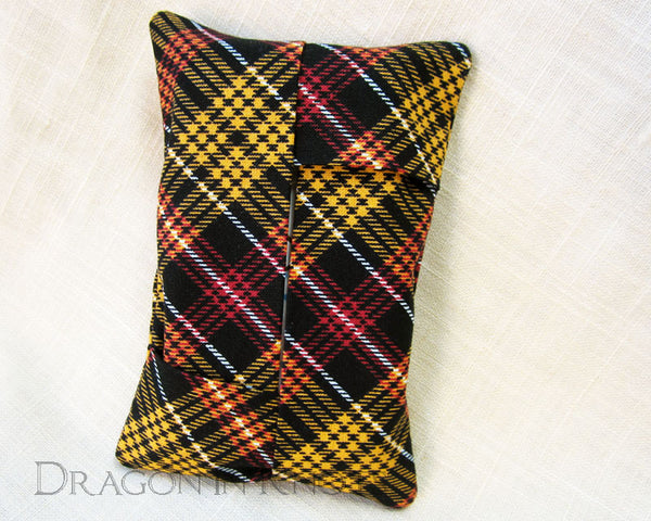 Black Plaid Portable Tissue Holder - Dragon in Knots - Tissue Holders