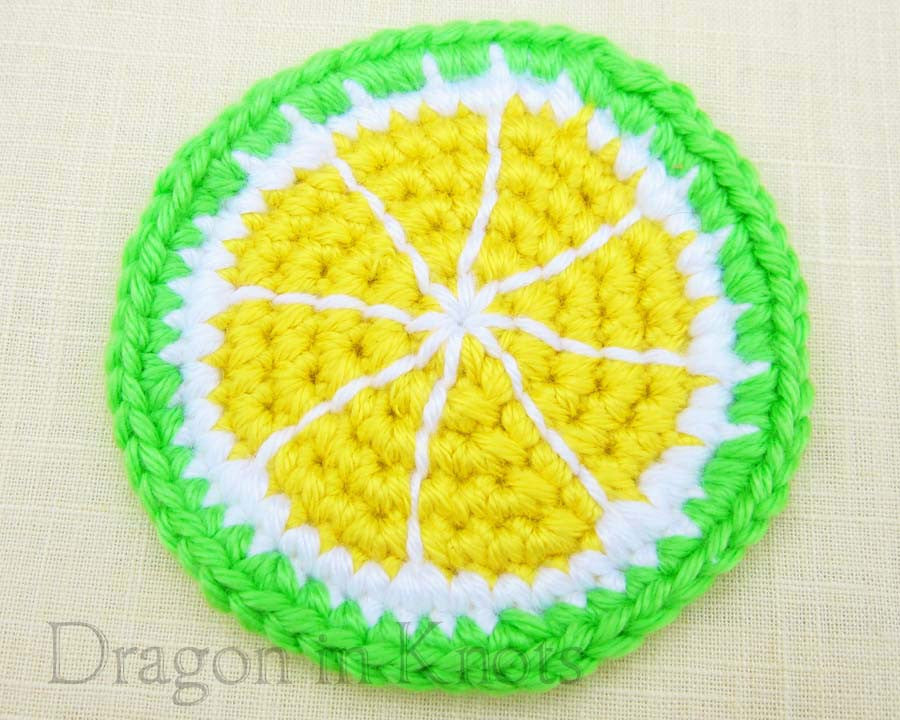 Yellow Pomelo Coaster - Single - Dragon in Knots - Coasters