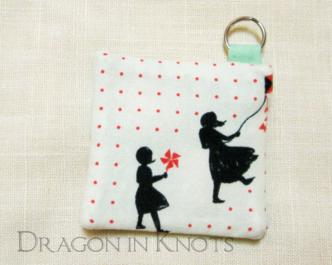 Earbud Pouch - Two Girls Playing on Windy Day -  - Earbud Pouches - Dragon in  Knots - 1