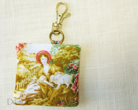 A Lady and her Dog - Earbud Pouch - Dragon in Knots handmade accessory