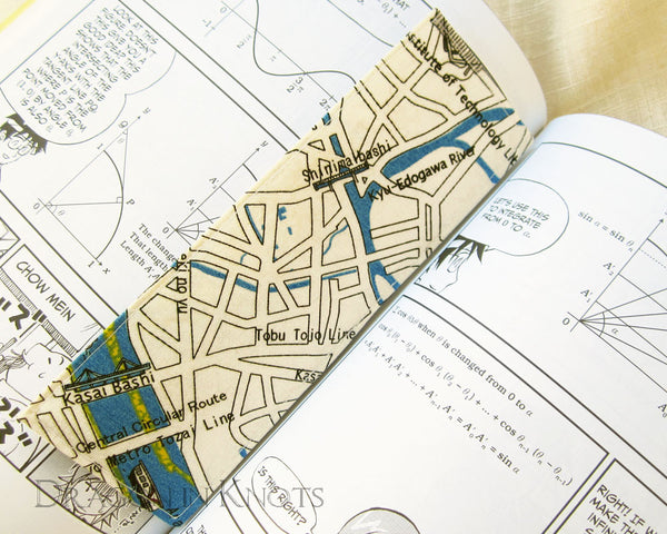 Map of Tokyo Bookmark - Dragon in Knots handmade accessory