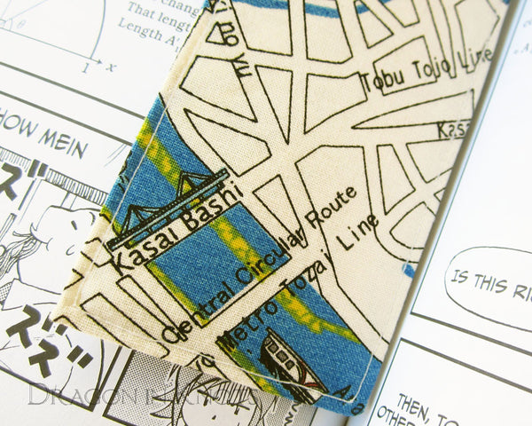 Map of Tokyo Bookmark - Dragon in Knots - Fabric Bookmarks