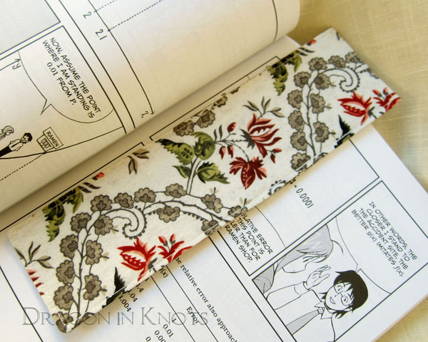 Rosebud Bookmark - Dragon in Knots - Fabric Bookmarks