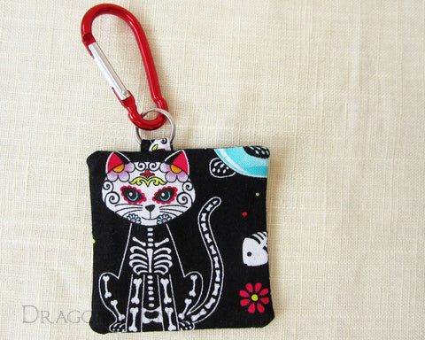 Sugar Skull Cat Guitar Pick Holder - Dragon in Knots handmade accessory