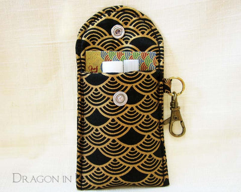 Black and Gold Mini Essentials Pouch - Dragon in Knots - Lip Gloss Pouches