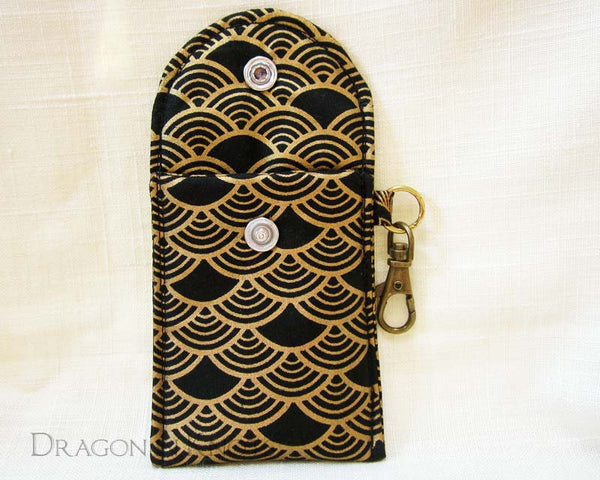 Black and Gold Mini Essentials Pouch - Dragon in Knots handmade accessory