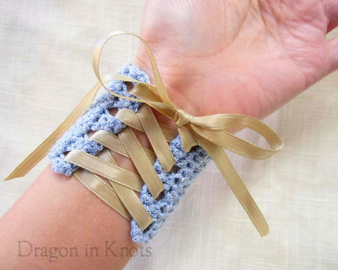 Blue Wrist Cuff with Champagne Ribbon - Small - Dragon in Knots - Wrist Cuffs