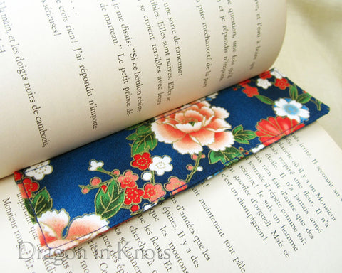 Blue Floral Fabric Bookmark - Asian Style Cotton Page Marker 1
