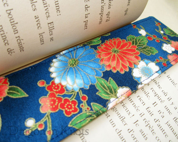 Blue Floral Fabric Bookmark - Dragon in Knots handmade accessory