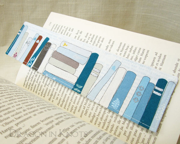 Bookshelf Cotton Fabric Bookmark - Dragon in Knots handmade accessory