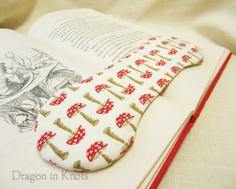 Toadstool Weighted Bookmark - Dragon in Knots handmade accessory