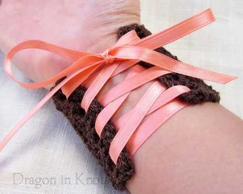 Chocolate Brown Cuff with Melon Ribbon - Small - Dragon in Knots - Wrist Cuffs