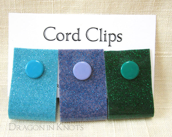 Cord Clips - Blue, Violet, and Green Glitter - Dragon in Knots handmade accessory