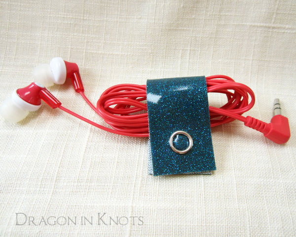Snap Cord Clips - Teal, Red, White - Dragon in Knots handmade accessory
