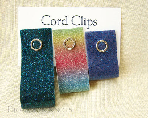 Glitter Cord Ties - Teal, Rainbow, Purple - Dragon in Knots handmade accessory