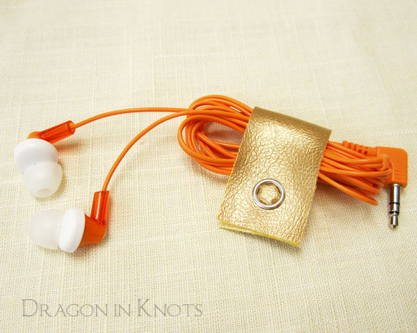 Matte Cord Clips - Gold, Orange, Pink - Dragon in Knots handmade accessory