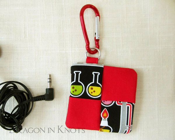 Chemistry Earbud Pouch - Dragon in Knots handmade accessory