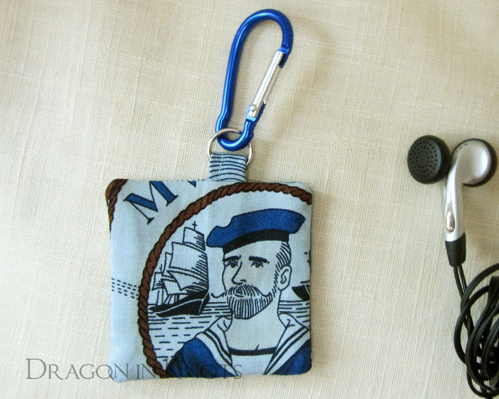 Bearded Sailor Earbud Pouch - Dragon in Knots handmade accessory