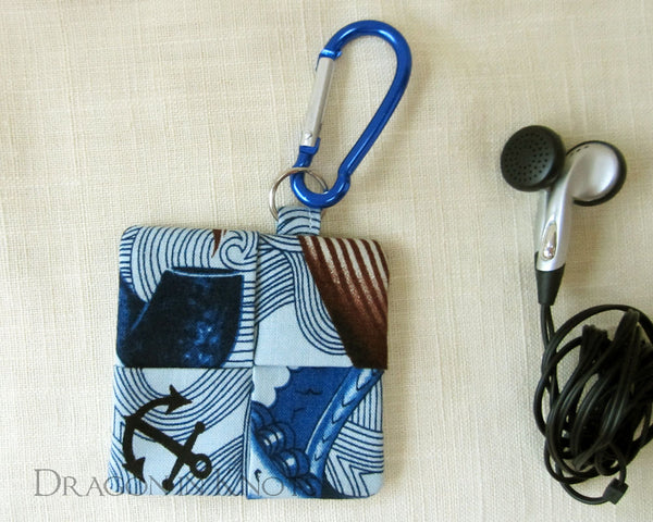 Sailor with Mustache Earbud Pouch - Dragon in Knots handmade accessory