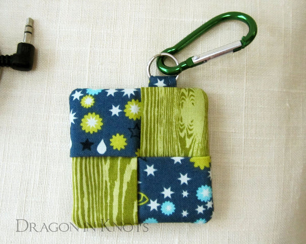Green and Blue Earbud Pouch - Dragon in Knots handmade accessory