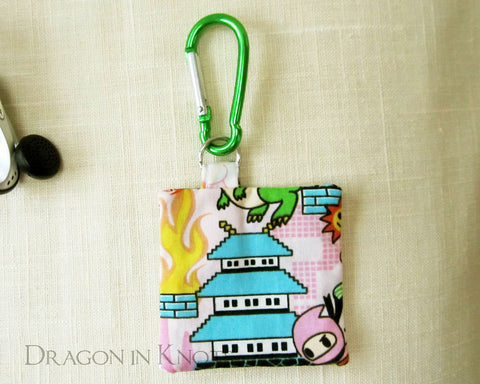 Pixel Pagoda Earbud Pouch - Dragon in Knots handmade accessory
