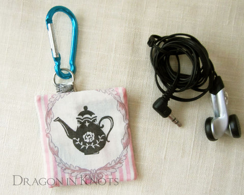 Tea at the Hatter's - Earbud Pouch - Dragon in Knots handmade accessory