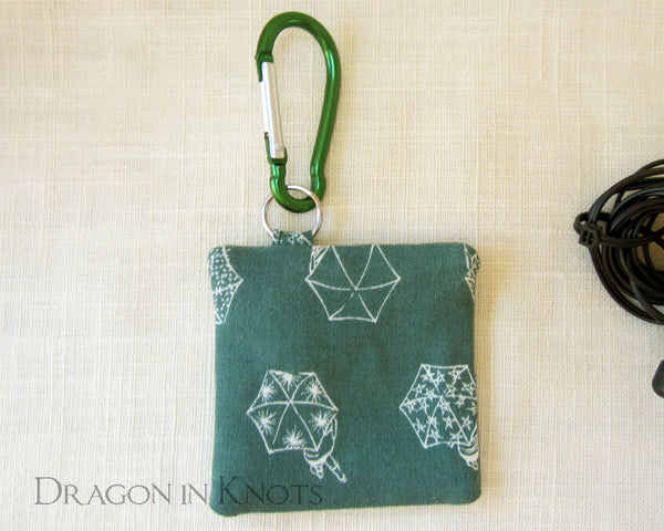 Rainy Day Pouch for Earbuds, Guitar Picks, or Earplugs - Dragon in Knots handmade accessory