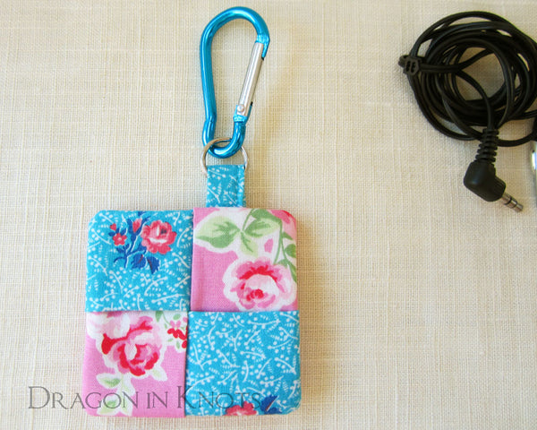 Pink and Aqua Floral Earbud Pouch - Dragon in Knots handmade accessory