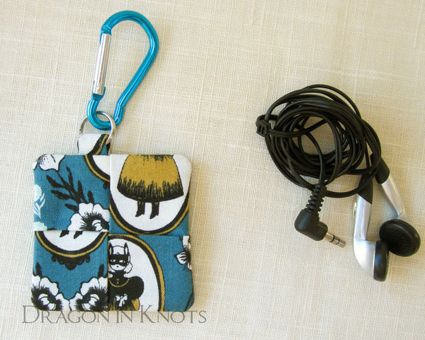 Masked Girl Earbud Pouch - Dragon in Knots - Earbud Pouches