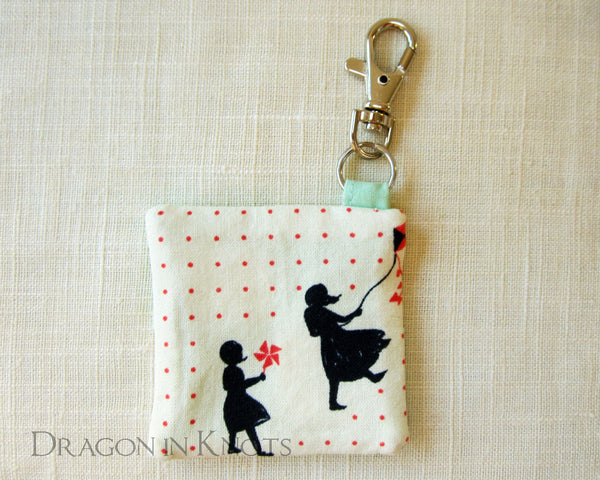 Earbud Pouch - Two Girls Playing on Windy Day - Dragon in Knots handmade accessory