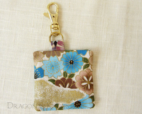 Floral Keychain Pouch - Dragon in Knots handmade accessory