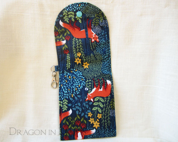 Fox Dual Pocket Pouch - Dark Blue Woodland Passport Holder 3