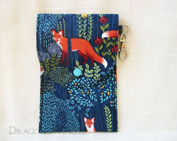 Fox Dual Pocket Pouch - Dark Blue Woodland Passport Holder 1