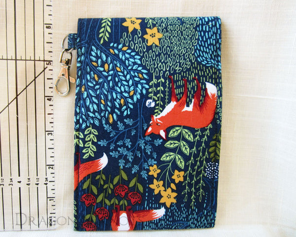 Fox Dual Pocket Pouch - Dark Blue Woodland Passport Holder 4