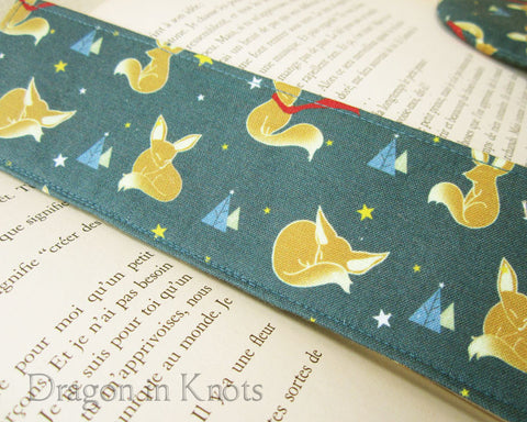 Fox Blue Cotton Fabric Bookmark - Whimsical Book Accessory 1