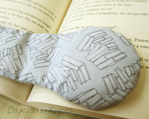 Pile of Books Bookweight - Light Grey Fabric and Metal Page Holder 1